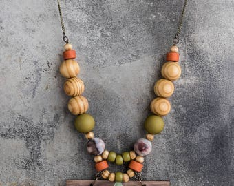 Boho chic statement necklace beaded necklace large beads necklace color GALLBERRY