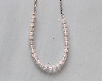 "Rose Quartz Necklace, Blush Pink, Long Necklace, Popover, Infinity Necklace, Sterling silver Chain, Beaded, Gemstones, 30"", Thai Silver"