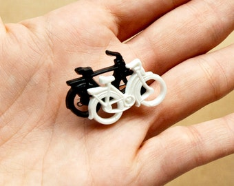 Bicycle Brooch Black White Pin
