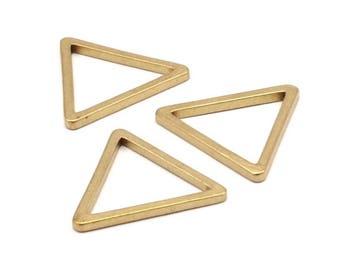 28mm Triangle Charm - 12 Raw Brass Triangle Charms (28x2mm) D013