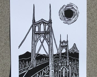 St. Johns Bridge (Original Hand-pulled Screen Print)