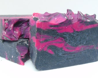 Pink Rhapsody Charcoal Soap, Bamboo Charcoal, Essential Oil Soap, Lavender, Grapefruit, Eucalyptus Scent, Activated Charcoal, Vegan Soap Bar