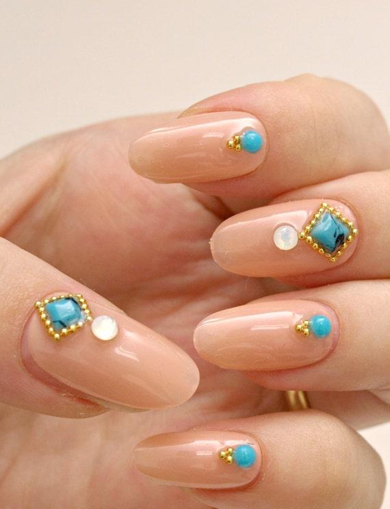 Simple nail art, party nail, nail gem, beige nail, press on nails ...