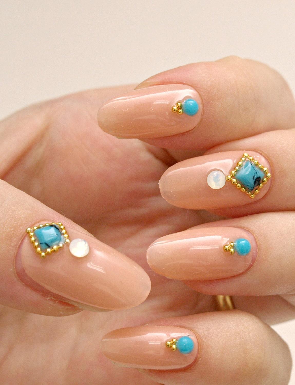 Simple nail art party nail nail gem beige nail press on