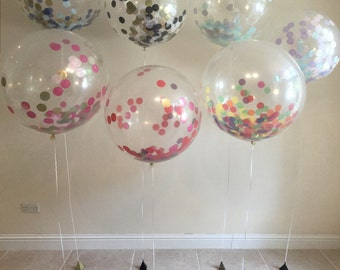 Giant Round Clear / opaque Balloons with confetti inside weddings, birthdays party decor