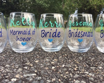 Bridesmaid stemless wine glasses, Bridesmaid gift, Bridesmaid Wine Glasses, Bachelorette Party Glasses, Wedding Favors, Bridesmaids Gift
