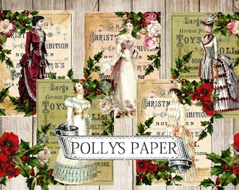 Victorian Ladies Vintage Christmas  Digital Images printable download file for Cards and Tags and Crafts Polly's Paper Studio 9 Images