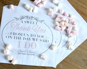 Personalised Wedding Sweet / Sweetie - candy cart favour bags sweet thank you - a sweet thank you favour