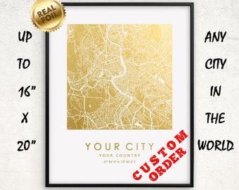 "Custom City Map Gold and Silver Foil Print up to 16""x20"" Personalized Large Wall Art Square Map Poster Gift Home Office Decor GoldenGraphy"