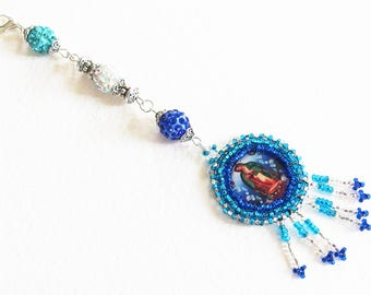For necklace - Virgin of Guadalupe - weaving with seed beads, beads Shamballa - jewelry designer, handmade, OOAK
