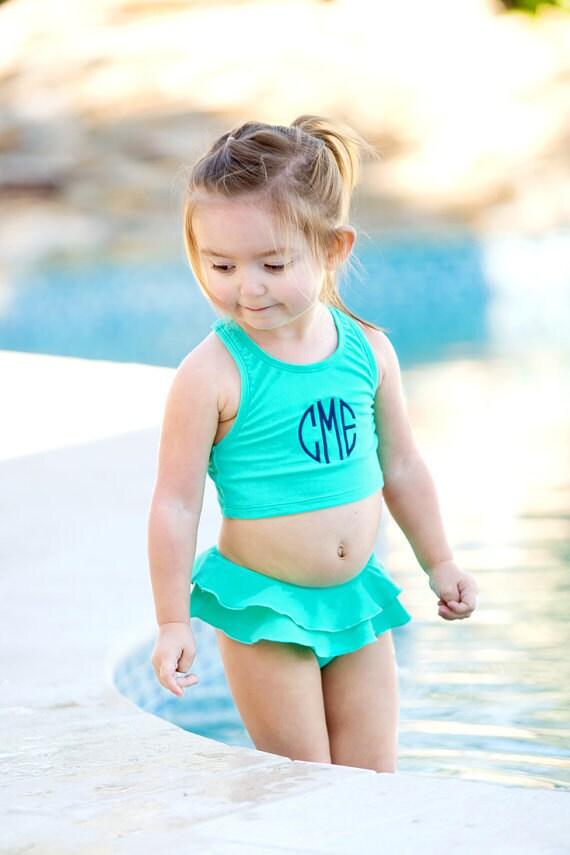 Mint Monogrammed Girls Swimsuit Bathingsuit monogrammed bathing suit preppy girls swim suit toddler monogrammed Swimsuit