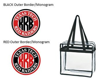 Texas Tech Red Raiders Custom Monogram/ Personalized Game Day Clear Tote Bag with Zipper Closure