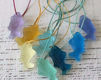 Sea Glass Fish Pendant Beads For Jewelry Making - Fish Charms - Frosted Glass Beads - Frosted Beads