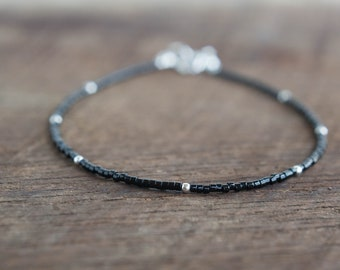 Boho Minimalist Black Anklet Beaded. Neutral Black Ankle Bracelet. Delicate Beaded Jewelry Sterling Silver Gold Filled Anklet Layer Jewelry.