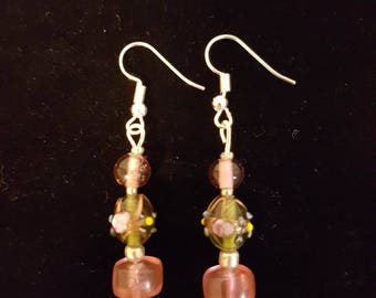 Pink and Green Lamp Work Beaded Earrings