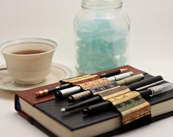 Journal Bandolier // earth tone ruler // (a better pencil case, journal pen holder, book strap, pen loop, pencil roll, pen bandolier)