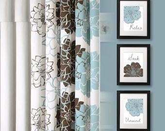 Bathroom Art Print - Bathroom Decor - Bath Art - Bath Decor - Relax Soak Unwind - Flower Bath Art - Blue Brown - Flower Bath Decor (NS-680)