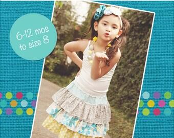 Amanda's Triple Ruffle Skirt  PDF Pattern size 6/12 months to size 8 girls