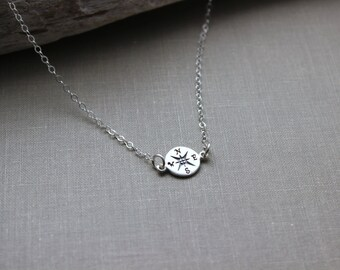 Sterling Silver sideways compass Charm Necklace - Sterling Silver Cable Chain - Gift for her - Traveler Necklace - Wanderer
