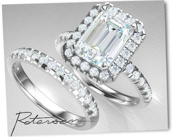 3.8 ct. Halo Wedding Ring Set - Engagement Ring - Wedding Ring - Emerald Cut Ring - White Gold - Modern Cubic Zirconia Ring Diamond Simulant