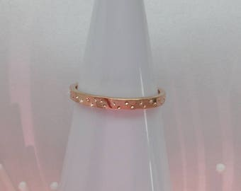 Rose Gold Wedding Band, Sparkle Ring, Gold Stardust Ring, Unique Rose Gold Wedding Ring, Organic Wedding Band, Gold Stack Band