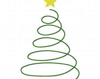 Instant Download Swirly Christmas Tree Machine Embroidery Applique Design 4x4, 5x7 and 6x10