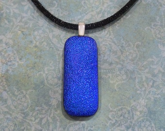 Blue Necklace, Handmade, Blue Dichroic Pendant, Royal Blue Fused Glass Jewelry, Sparkly - Shadoe -5