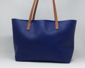 Blue Leather Tote bag. Full grain . Handmade with the highest quality spanish leather