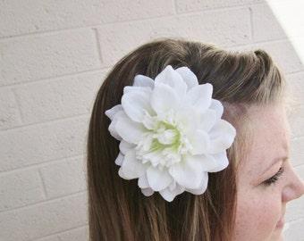 Small White Dahlia Hair Flower Clip