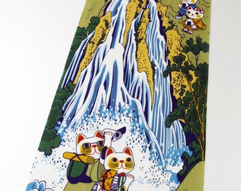 Japan Tenugui Fabric Maneki neko Fortune Cats, marcial arts tenugui, japanese fabric, kawaii fabric,Tenugui, cat fabric, cotton
