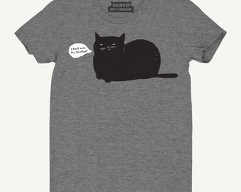 Cat T-Shirt: Check with My Assistant Cat Tee, Women's T-Shirt, Relaxed Fit Gray tee