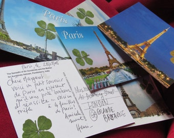 postcard from Paris card postal Eiffel Tower with 4 and 5 leaf clovers, 2 REAL four-leaf clovers!