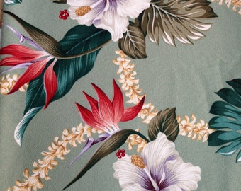 "Upholstery Bark Cloth Fabric 1 1/3 yd (52"") x 56"" Pale Green Large Birds of Paradise and Hibiscus Flowers"
