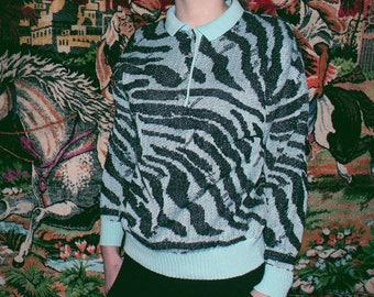 sparkly blue zebra print sweather