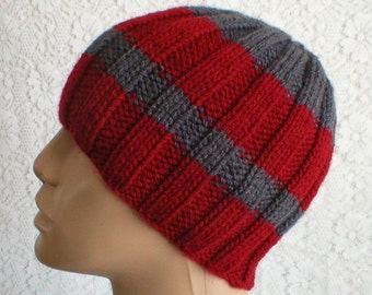 Gray red beanie hat, striped hat, charcoal gray cranberry red hat, ribbed hat, gray hat, knit hat, mens gray hat, toque, mens womens hat