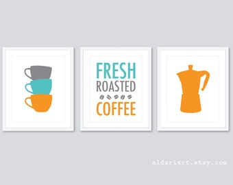 Coffee Art Prints - Coffee Wall Art - Kitchen Art Prints - Teacups Print - Coffee Maker Print - Fresh Roasted Coffee Print - Aldari Art