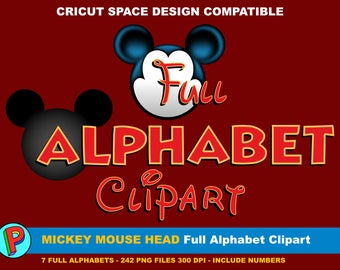 Mickey Mouse Head - Full Alphabet Clipart - 7 Full Alphabets 242 png files 300 dpi Include Numbers - Disney Font - Mickey Font