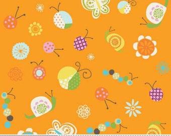 04187  -Deena Rutter for Riley Blake Happier C5501  Multi Bugs in orange color- 1/2 yard