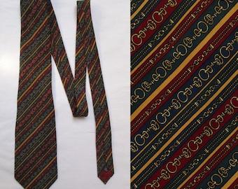 Mens silk tie cravate, chain patterned stripey, navy burgundy red green mustard, Italian silk neck tie