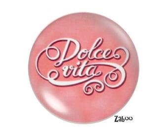 4 cabochons 16mm glass Dolve vita pink