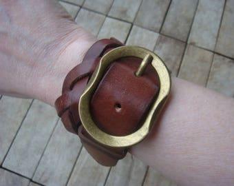 Leather Wrap Cuff - Distressed Leather Cuff - Rustic Leather Cuff - Brown Leather Cuff - Leather Bracelet - Leather Jewelry - Boho Cuff -