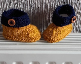 Baby / reborn wool 0/3 month wool mustard and Navy