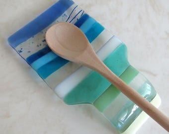 Fused Glass Spoon Rest, Beach Glass Spoon Rest, Turquoise Blue Sea Glass Dish, Mother's Day Glass Gift, Kitchen Decor, Beach House Decor