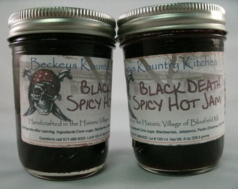 Two Jars Blackberry Jalapeno jam, Homemade by Beckeys Kountry Kitchen jelly fruit spread preserves