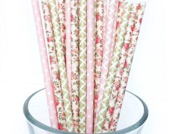 Pink Bridal Shower Decor, Pink Paper Straws, Pink Baby Shower Decor, Floral Party, Tea Party Bridal Shower, Garden Party, Vintage Wedding