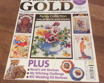 Cross Stitch Gold Issue 3 Apr/May 2001 - Native American, Oriental lady, Pansies, Carousel Horse ++