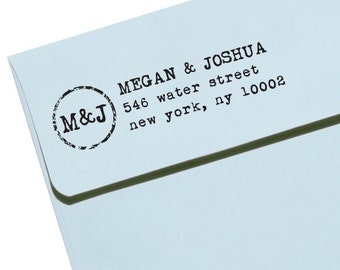 CUSTOM ADDRESS STAMP with proof from usa, Eco Friendly Self-Inking stamp, rsvp address stamp, custom stamp, custom address stamp Monogram 38