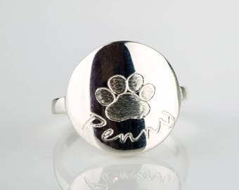 Dog Ring personalized, custom paw print necklace, pet necklace, in memory of dog pet memorial jewelry memorial jewelry personalized ring pet