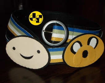 Finn the Human and Jake the Dog (Adventure Time) colorful 100% handmade nerdy leather belt for men and women