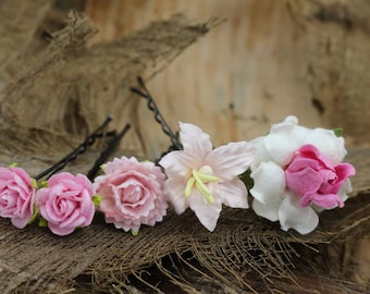Set of 5 Small Pink Mulberry Paper Flower Hair Pins , Bridal Hair Pins, Hair Bobby Pins,U pins,Prom,Bridal Hair Accessories (FL385)